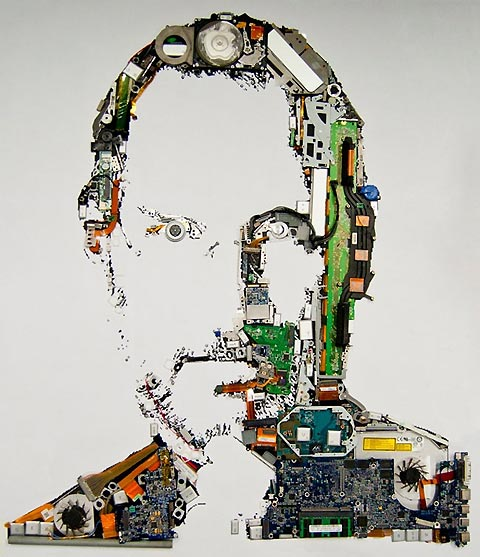 Foundry, a research team at Mint Digital, made a portrait of Steve Jobs out of MacBook Pro parts.