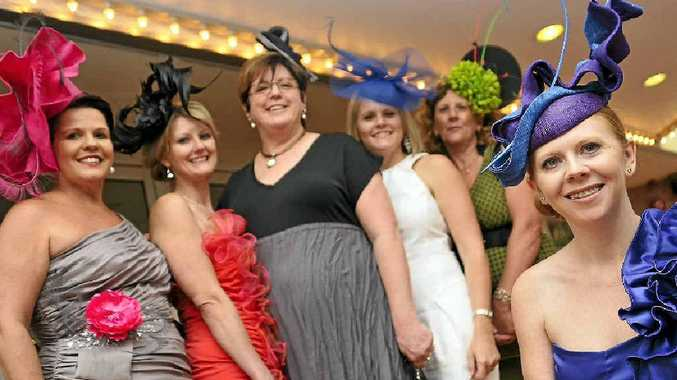 Kelly Cavanagh (front) with ladies wearing her designer fascinators, Cath Wassell, Sue Neilsen, Robyn Buttsworth, Anne Woolley and Gail Tobin.