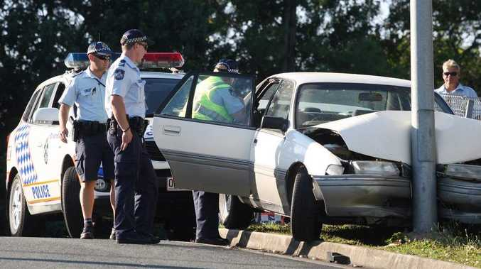 A Holden Commodore sedan crashed into a pole on the corner Maroochydore Rd and Hume St Maroochydore.
