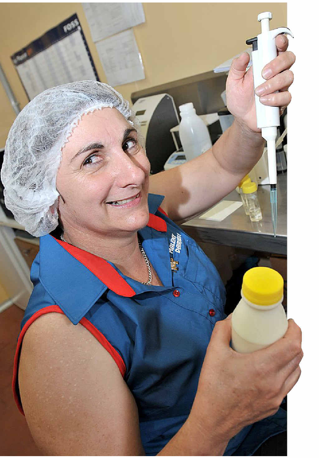 Elaine Perriman, of Maleny Dairies, tests milk to ensure its safety after a bout of contamination.