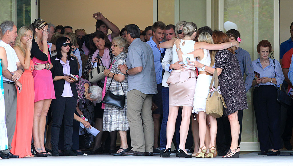 Friends and family gather to farewell Madelaine Crawley, who died in Rome last month.