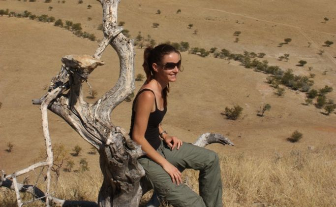 Brooke Mundey on one of the farms during a rapid survey on human-predator conflict in the Sesfontein Conservancy, Namibia.