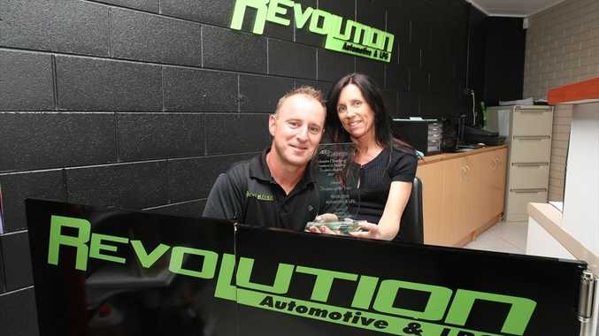 Recently named Caloundra's best service business of the year, Stefan and Sandy Razum inside their Revolution Automotive and LPG business on Regent St.