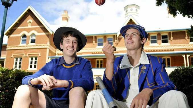 Toowoomba Grammar School cricketers Jack Carty (left) and Giles Creedon.