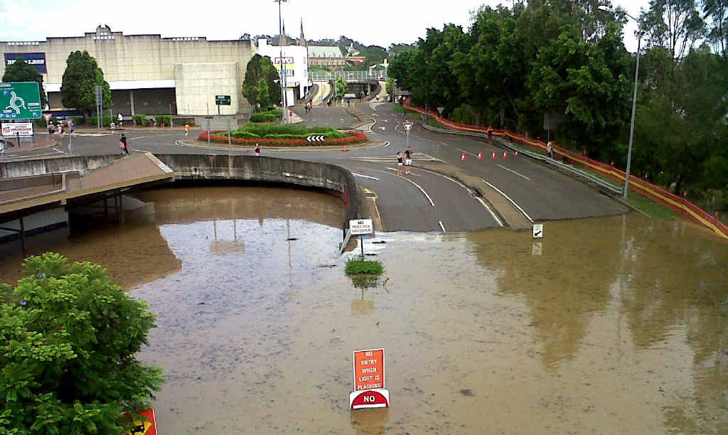 The Ipswich Transit Centre, taken from David Trumpy Bridge on January 12, the day the Bremer River peaked.