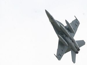 Super Hornet aerobatics for Queensland Raceway