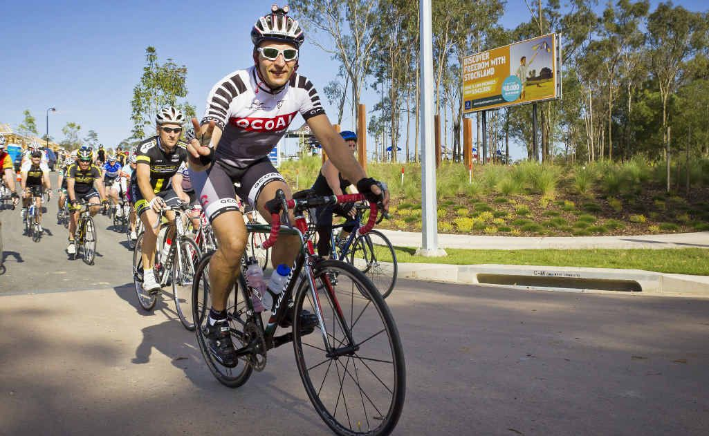 Rider James Van Rooyen at the head of a group of cyclists in the Sovereign Pocket charity bike ride to raise awareness of cycling and money for a safe cycling facility in Ipswich.