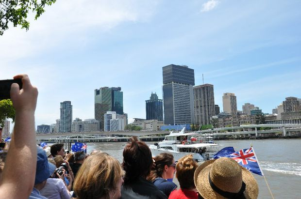 Thousands of people gathered at Southbank to welcome the Queen.