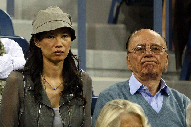 Rupert Murdoch (right) and wife Wendi Deng Murdoch.