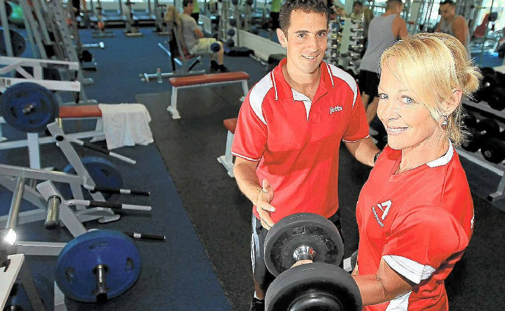 Chris Evans and Jayne Morgan from Jetts Gym at Palm Beach are pumped for Open Heart Day this Saturday.