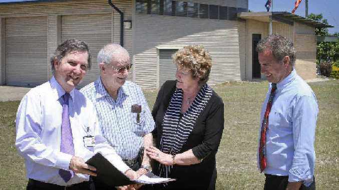 District Health CEO Chris Crawford, Yamba health campaigner Jim Agnew, NSW Health Minister Jillian Skinner and Clarence Nationals by-election candidate Chris Gulaptis on the site of the proposed Yamba community health centre.