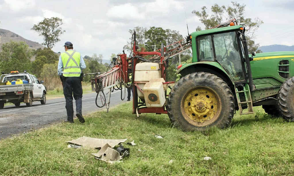 LUCKY TO ESCAPE: Crust Farms worker Natham Lindenmayer escaped without injury after the collision with a truck on Mt Sylvia Road recently.