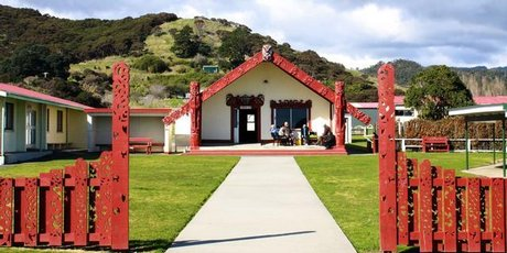 The entrance to Torere Marae.