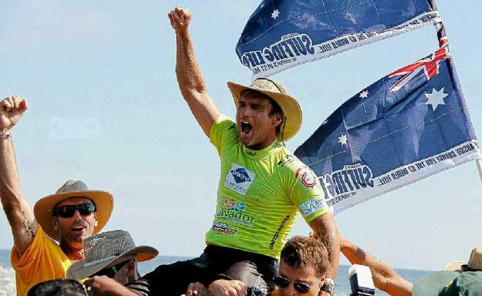 Mark Richardson had his best ride of the day, courtesy of his exuberant supporters after winning the World Masters in El Salvador.