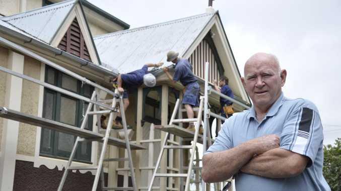 Brian Ball overlooks the work on St Luke's Hall by plumbers from Ken Ball Plumbing.