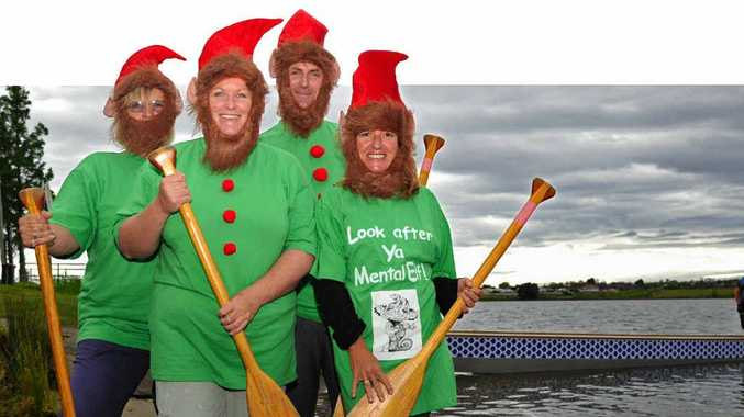 RARING TO GO: Dragon boat team How's Ya Mental Elf members Roxie Collett, Vicki Forrest, Mark McGrath and Jodie Clifford. Photo: JoJo Newby