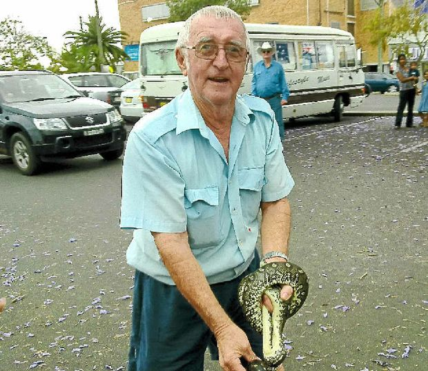 Grafton Wires' resident snake man Paul Jones and Cyril the Snake.