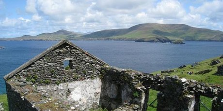 Blasket Island's steep green hills are now home to only the rabbits and sheep.