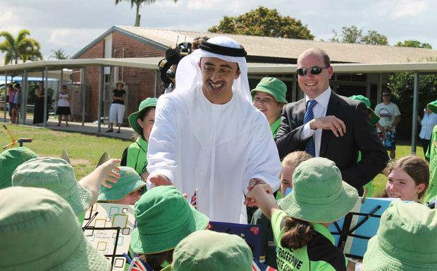 AN EXCITING AFFAIR: United Arab Erimates foreign affairs minister Sheikh Abdullah bin Zayed Al Nahyan met with the students of Proserpine State School to mark the start of construction of the cyclone shelter to be built on the school grounds before next year's cyclone season.