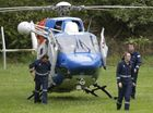 THE AGL Action Rescue Helicopter crew arrive to join the search for a missing horse rider. Photo: Cade Mooney