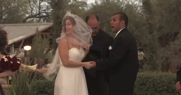 Gus and Jennifer's big day was crashed by a dust storm.