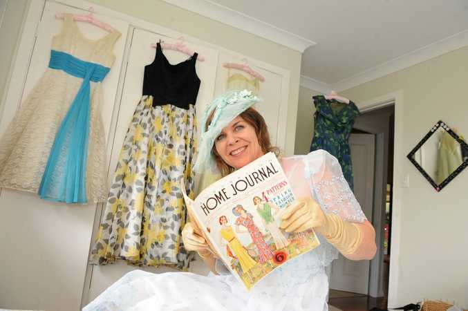 Alstonville vintage clothing dealer Janel Morrissey of Wisteria Auctions pictured with some of her vintage creations.