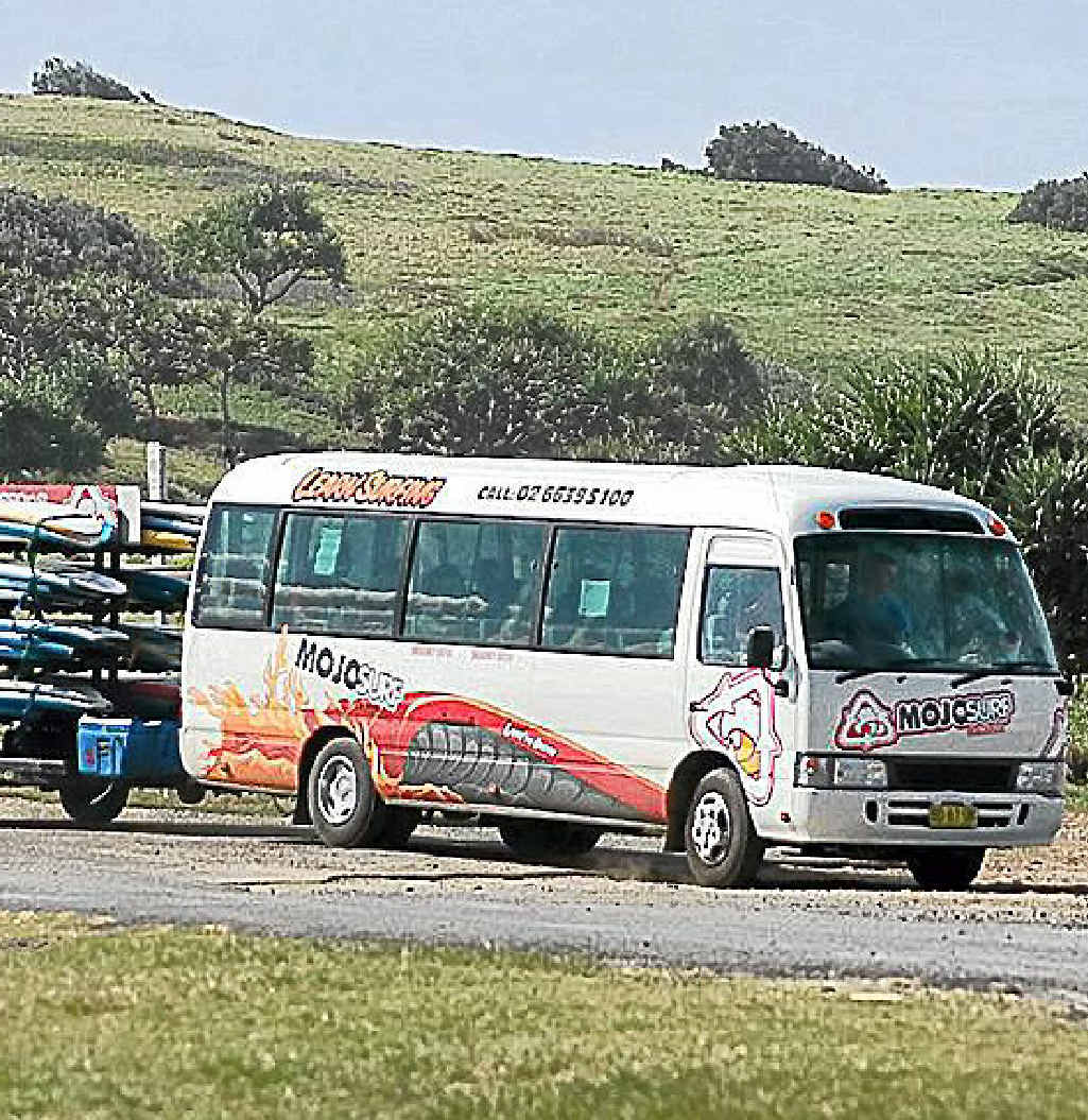 The Mojosurf bus that was broken into at Flat Rock.