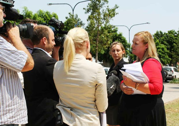 Cresta Richardson talks to the media after the second Flood Inquiry sittings in Emerald, where she told the courtroom insurance needs to be clearer.