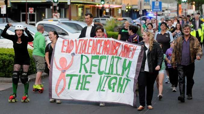 NO TO VIOLENCE: Marchers reclaim the night on their procession through Toowoomba's central business district.