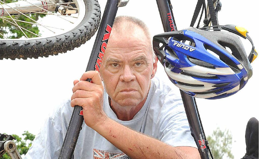 Dave Nielsen is grateful to the people who stopped to help him after he came off his push bike.
