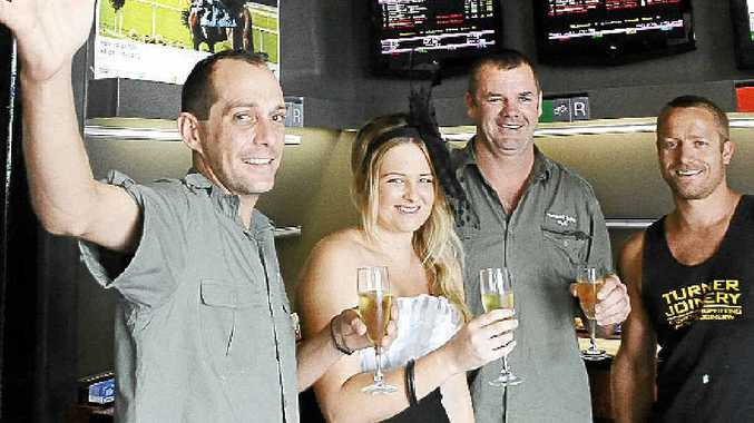 Bradley Martin (left), designer Lauren Layton, Federal Hotel licensee Michael O'Connor and Luke Turner will be celebrating the Melbourne Cup at the Federal Hotel in Alstonville.