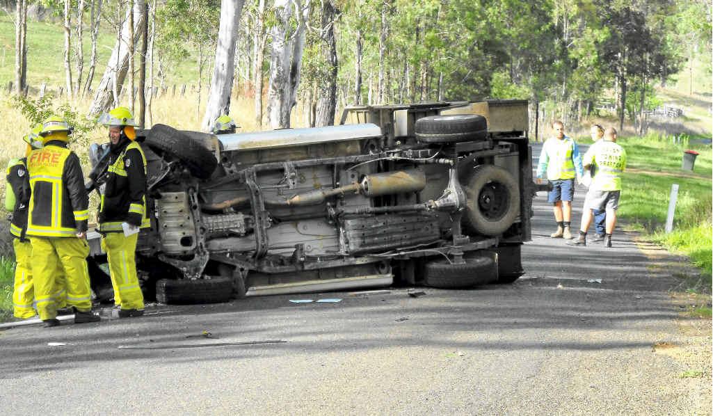 The truck rollover on Rushforth Rd, South Grafton.