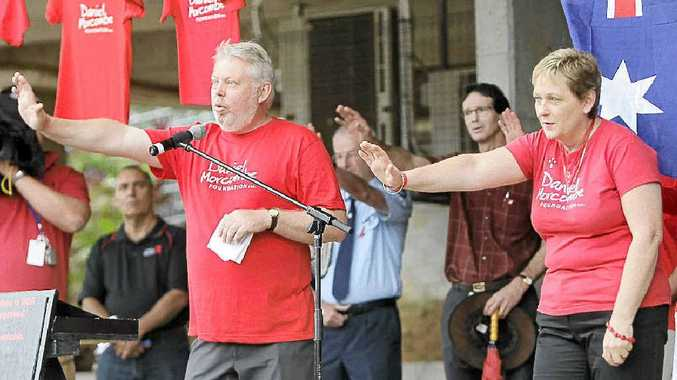 NOMINATED: Child protection advocate Bruce Morcombe addresses a crowd supporting his crusade.
