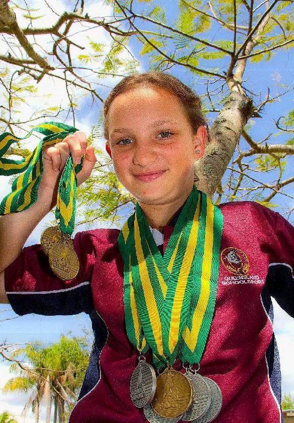 Sarah Eckert won three gold medals.
