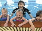Youngsters (from left) Charli Williams, Emily Williams and Brooke Pettit with instructor Karen Jones enjoying the water.