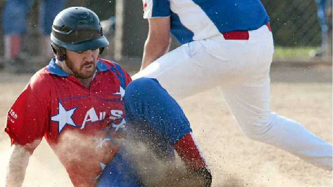 ON THE SLIDE: All Stars baserunner Adan Sanders is tagged out during last weekend's game against USQ. All Stars take on Dodgers tonight.