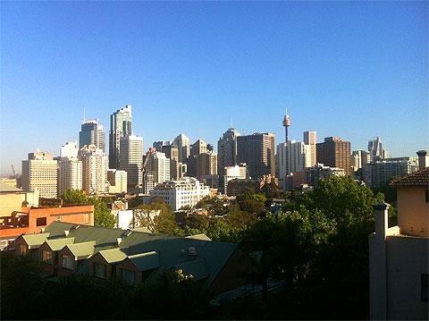 View of Sydney's skyline from the Adina hotel.