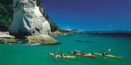 Sea kayakers at Cathedral Cove.
