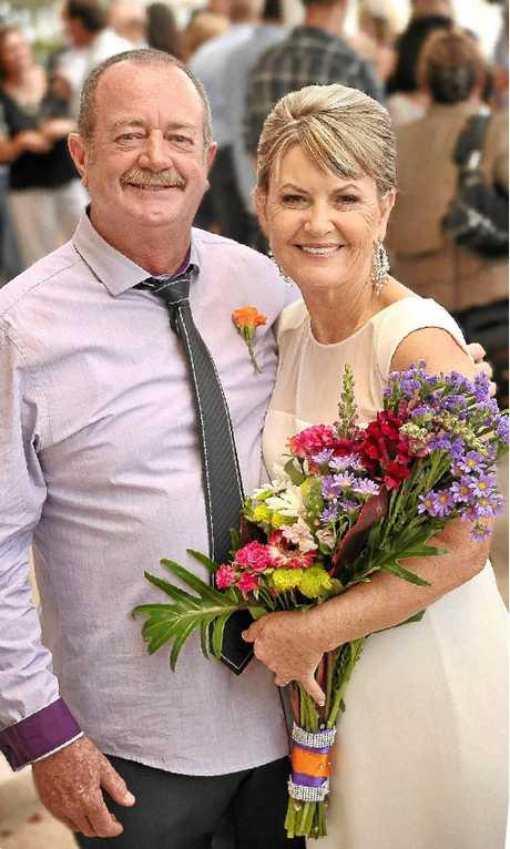 Julie Elliott with her husband Darryl Mossop during happier times.