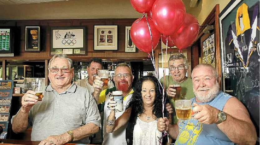Long-term patrons celebrate the Duporth Tavern's 100th birthday (from left) Ron Banks, Shuffles, Jeff, Minnie, Wilco and Paddy Goonan.