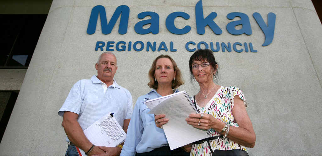 Peter Ffrost, Carol Single (centre) and Jane Conlon met with Mackay Mayor Col Meng to air their concerns about the Memorial swimming pool.