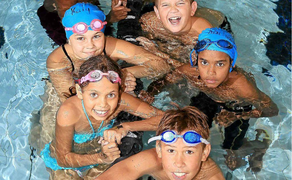 Members of the Indigenous Talent Identification Swim squad at South Tweed Indoor Pool (rear-front): Caleb Hodges, Shaqkina Compton, Brenton Dally-Holton, Oshjae Rainbow, Zac Bailey-Combo, Taleisha Simon, and Brandon Simon.