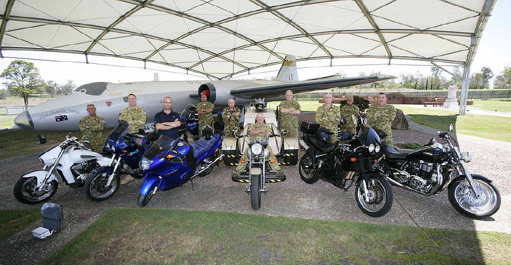 Participants in Exercise Longride, a cross country charity ride to raise funds for the Prostate Cancer Foundation of Australia involving serving and ex-serving Defence members, with their motorcycles at RAAF Base Amberley in the lead up to the event. (L to R) Sergeant Glen King, Flight Lieutenant Jody New, Mr Terry Lubomirski, Squadron Leader James Alexander, Sergeant Dave Humphry, Wing Commander Trevor Owens, Chaplin Robert Paget, Sergeant Chet, Warrant Officer Gary Thompson and Warrant Officer Steve Holland.
