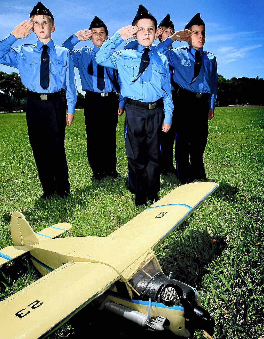 Australian Air League Gold Coast Squadron is looking for members to form a new group at Robina (from left) Aaron Pickergill, 12, Nathan Arnold, 11, Reece Larsen, 12, Alex Rosen, 10, and Brendon Beckers, 12.