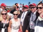 Celebrating Albert the Fat's Emirates Stakes victory are (from back) Brad Wood, Kristen Schimke, Paul Schimke, Dan Schimke, Leanne Schimke, (front) Kerryn White and Jessica Knight.