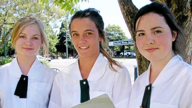Year 10 students from St John's College Woodlawn (from left) Hannah Solly, Susie Wolff, and Katelyn Burns prepare to sit the School Certificate exam.