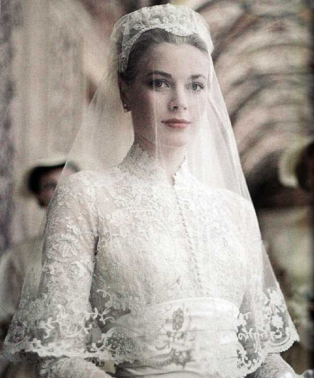 American actress Grace Kelly in the gown she wore in April 1956, upon her marriage to Rainier III, Prince of Monaco.