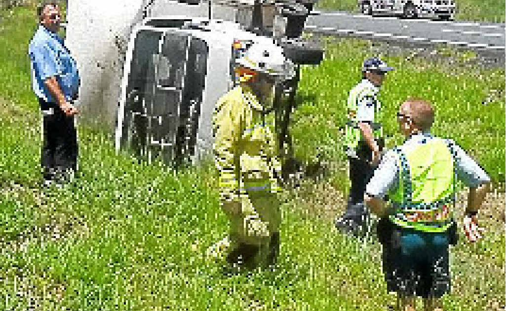 A truck driver had a lucky escape after a mechanical failure caused a crash on the Bruce Highway.