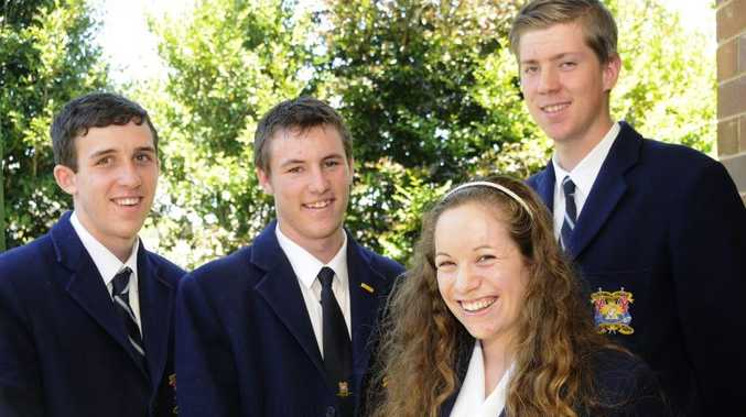 Students from Toowoomba Christian College (from left) Lincoln Roberts, Ben Kahler, Ruth Macartney and David Reinke who are all members of the Boys and Girls' Brigades, received their Queens Badge Awards.