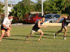 Bayden Brown, Luke Guinane and Hayden Buckman go through their paces at training.